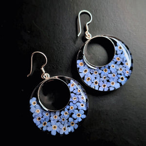 Blue Mexican Flowers Round Cut-Out Earrings by San Marco