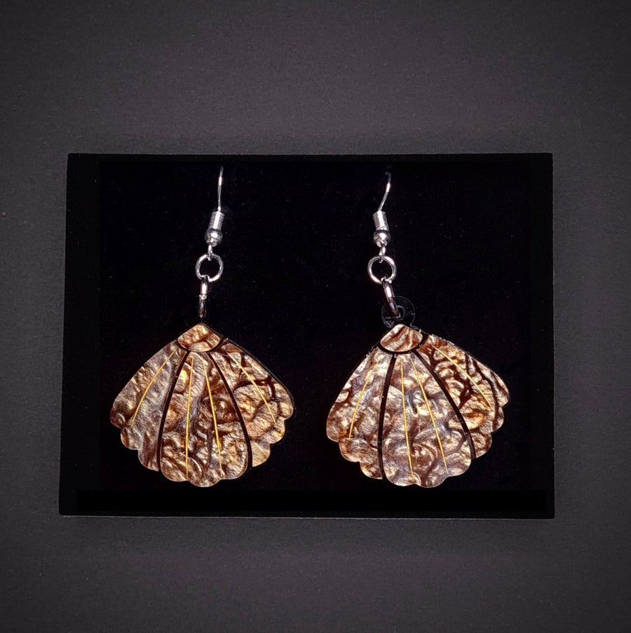 Small Brown Shell Earrings by Lou Taylor