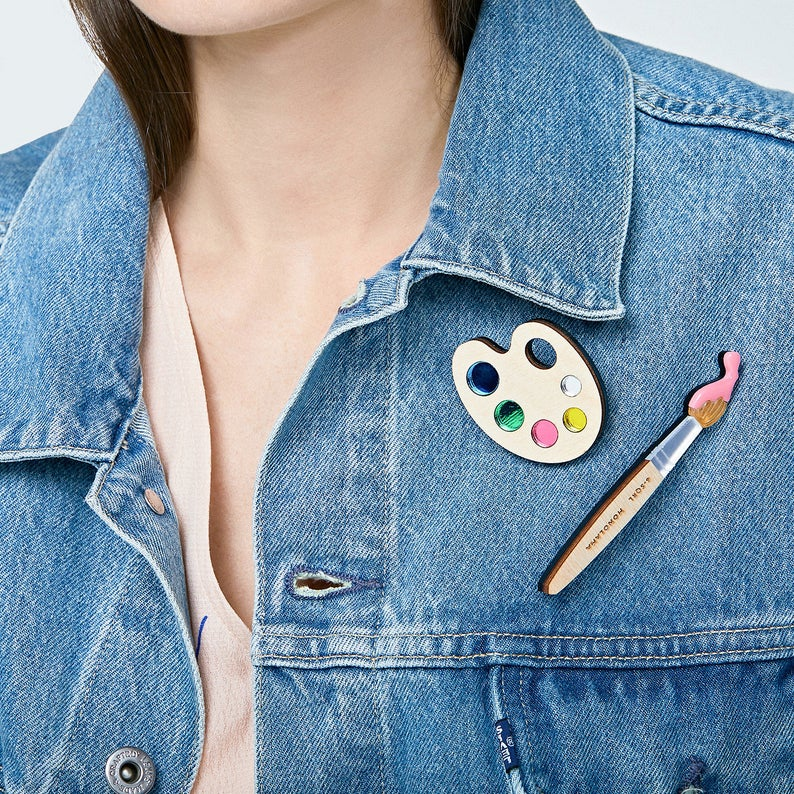 Paint Brush Brooch (Pink) by Monolama