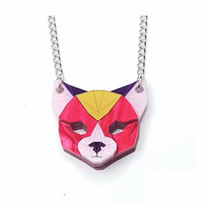Cat Head Necklace (Magenta Jewel) by Sstutter