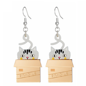 Cat in a Box Dangly Earrings by Little Moose