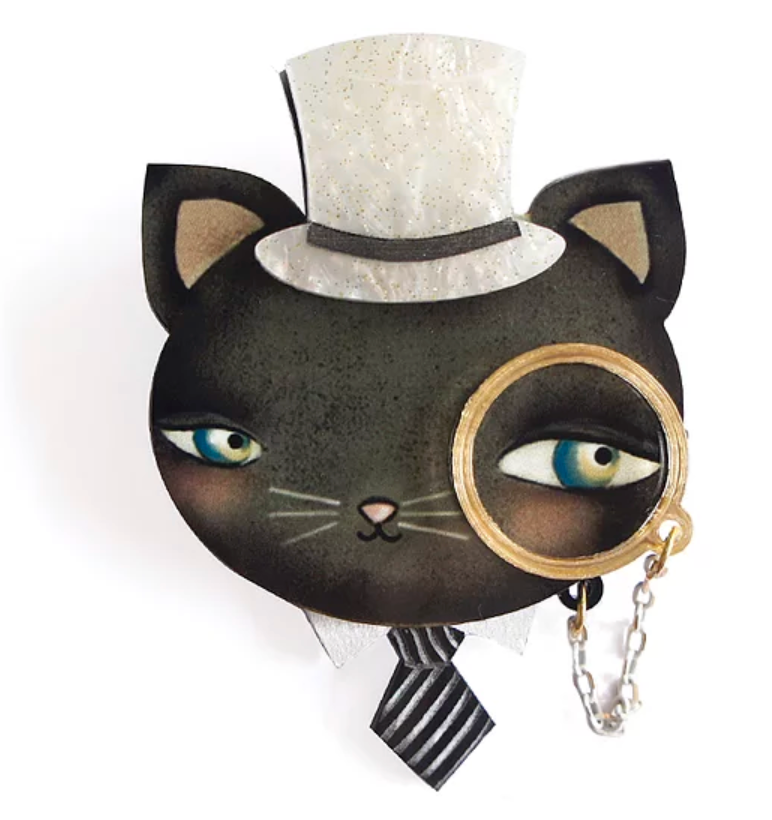 Cat with Monocle Brooch by LaliBlue