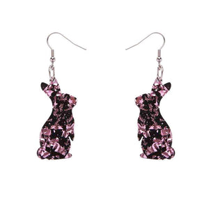 Bunny Chunky Glitter Resin Drop Earrings - Holographic Pink