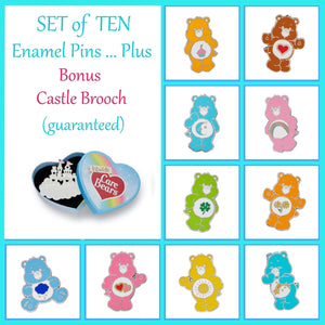 Care Bears Collectors Set of 10 Enamel Pins PLUS Bonus Castle Brooch by Erstwilder
