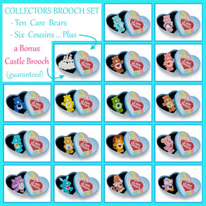 Care Bears Collectors Set of 16 Brooches PLUS Bonus Castle Brooch by Erstwilder