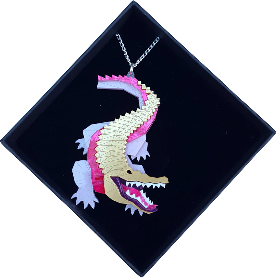 Crocodile Necklace in Jewel by Sstutter