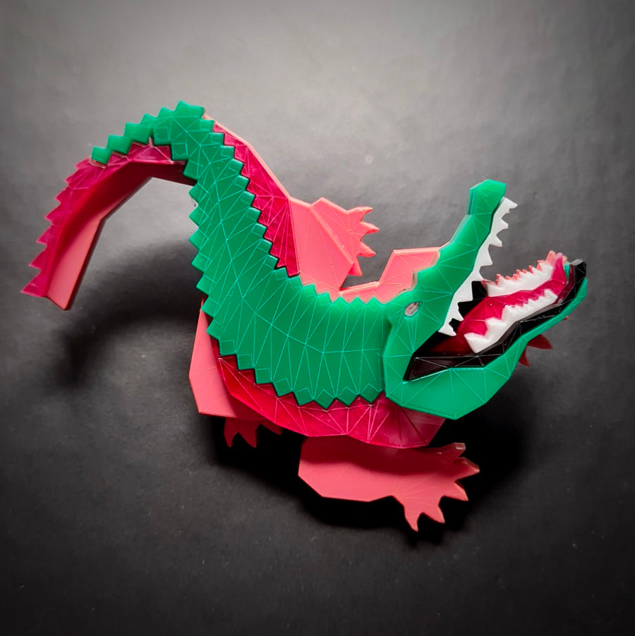 Crocodile Brooch (Watermelon) by Sstutter