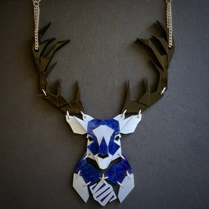 Emperor Stag Necklace (Deep Blue)  by Sstutter