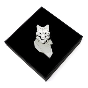 Demi Fox Brooch (Snow Grey) by Sstutter