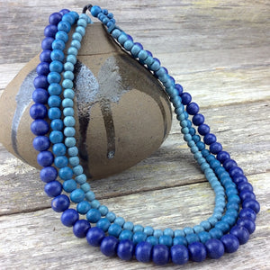 Denim Blues Lolita 3 Strand Necklace by Cool Coconut