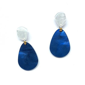 Navy and Pearly White Tear Drop Earrings by Little Red Head