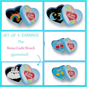 Care Bears Collectors Set of 4 Earrings PLUS Bonus Castle Brooch by Erstwilder