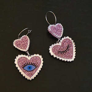 Eye Heart You Double Open and Wink Eye Hoop Earrings by No Basic Bombshell