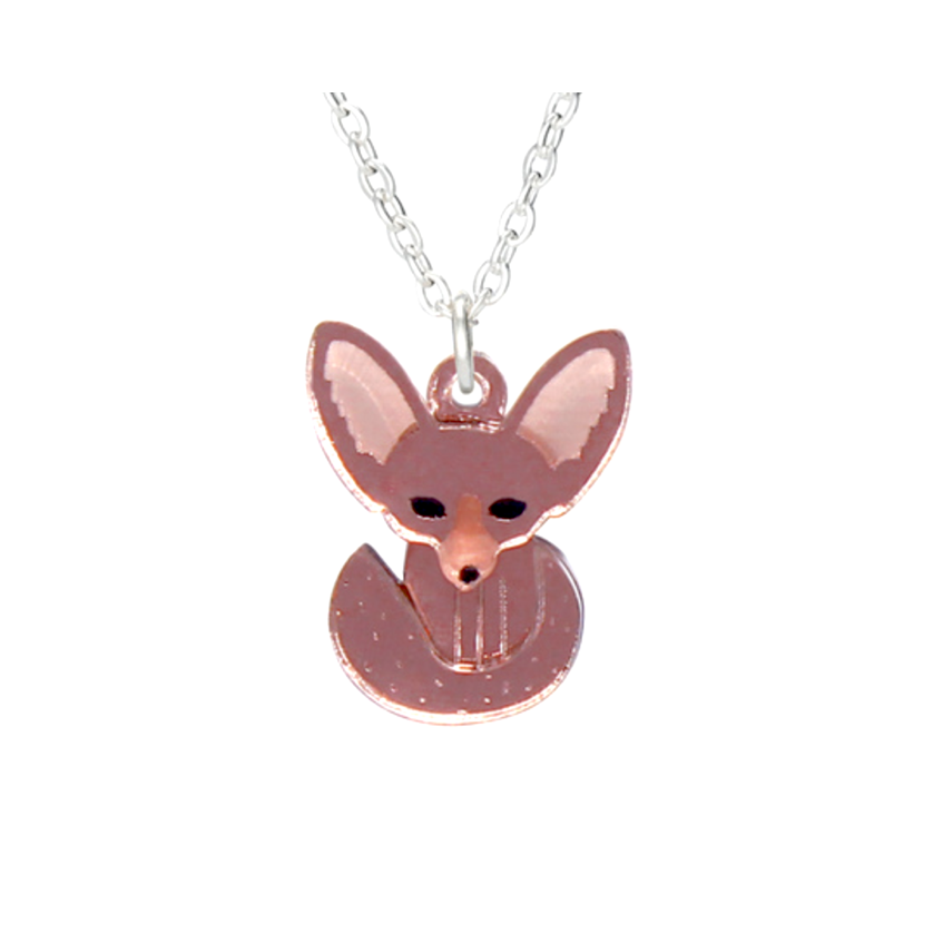 Fennec Fox Mini Rose Gold Necklace by Little Moose