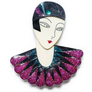 Flapper Marion Brooch by LaliBlue