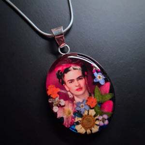 Frida Kahlo Mexican Flowers Red Bow Necklace by San Marco