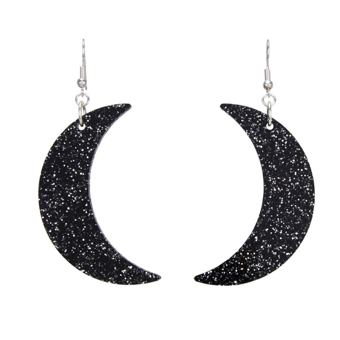 Glitter Moon Black Earrings by Little Moose