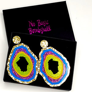 Large Gold/Blue/Purple Glitter/Banana/Lime Glitter Geode Earrings by No Basic Bombshell