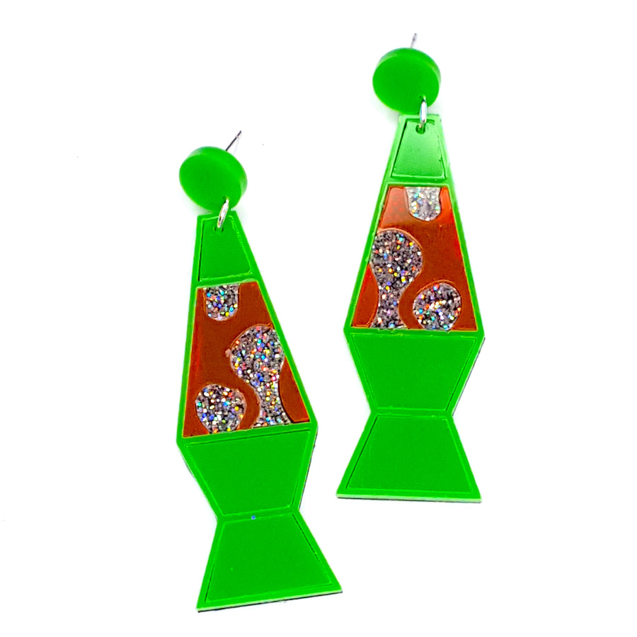 Green Lava Lamp Earrings by No Basic Bombshell