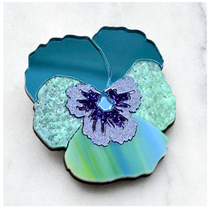 Pansy Hair Clip  (Teal)  by Esoteric London
