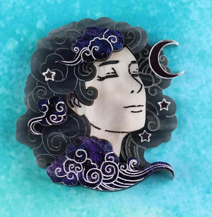 Head in Clouds Brooch (Night Skies) by Gory Dorky