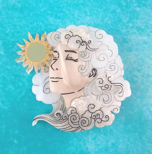 Head in Clouds Brooch (Sunny Skies) by Gory Dorky