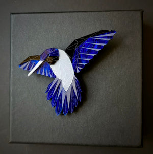 Hummingbird Brooch (Deep Blue) by Sstutter