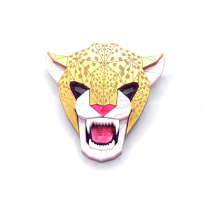 Jaguar Head Brooch in Jewel by Sstutter