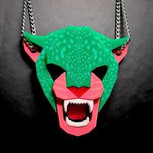 Jaguar Head Necklace  (Watermelon) by Sstutter