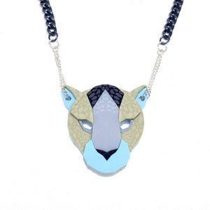 Leopard Head Necklace (Nocturnal) by Sstutter