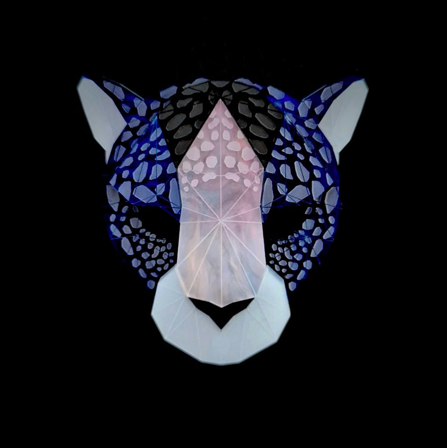 Leopard Head Brooch (Deep Blue) by Sstutter