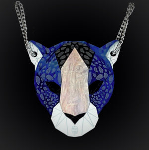 Leopard Head Necklace (Deep Blue) by Sstutter