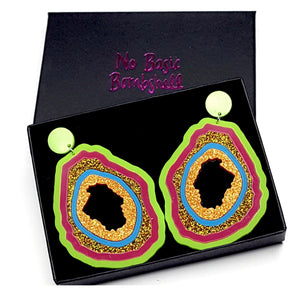 Large Lime/Magenta/Holo Glitter/Blue/Amber Glitter/ Geode Earrings by No Basic Bombshell