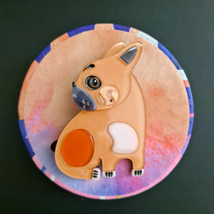 Luce the French Bulldog Brooch by Erstwilder x Pete Cromer