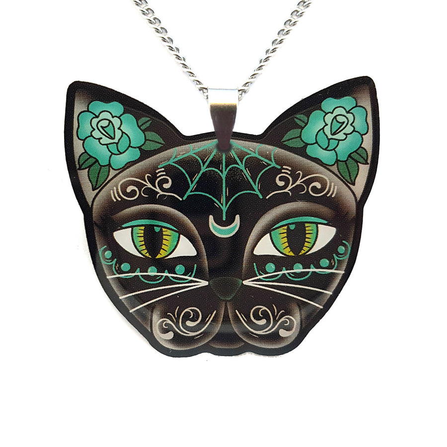 Luna Kitty Black Cat Pendant Necklace Pendant by Jubly Umph