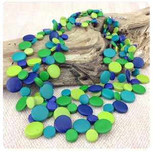 Lush Lagoon Smarties 3 Strand Coconut Shell Necklace by Cool Coconut