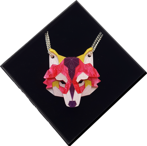 Wolf Head Necklace (Magenta Jewel) by Sstutter