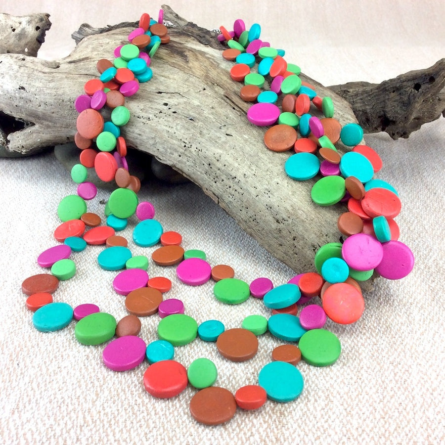 Marrakesh Smarties 3 Strand Coconut Shell Necklace by Cool Coconut
