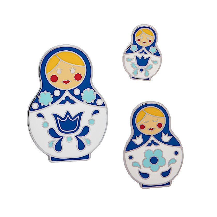 Set of 3 Matryoshka Memories (Blue/White) Enamel Pins by Erstwilder