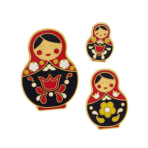Set of 3 Matryoshka Memories (Red/Black) Enamel Pins by Erstwilder