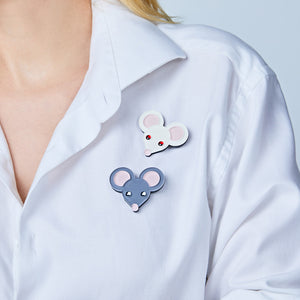 Little White Mouse Brooch by Monolama
