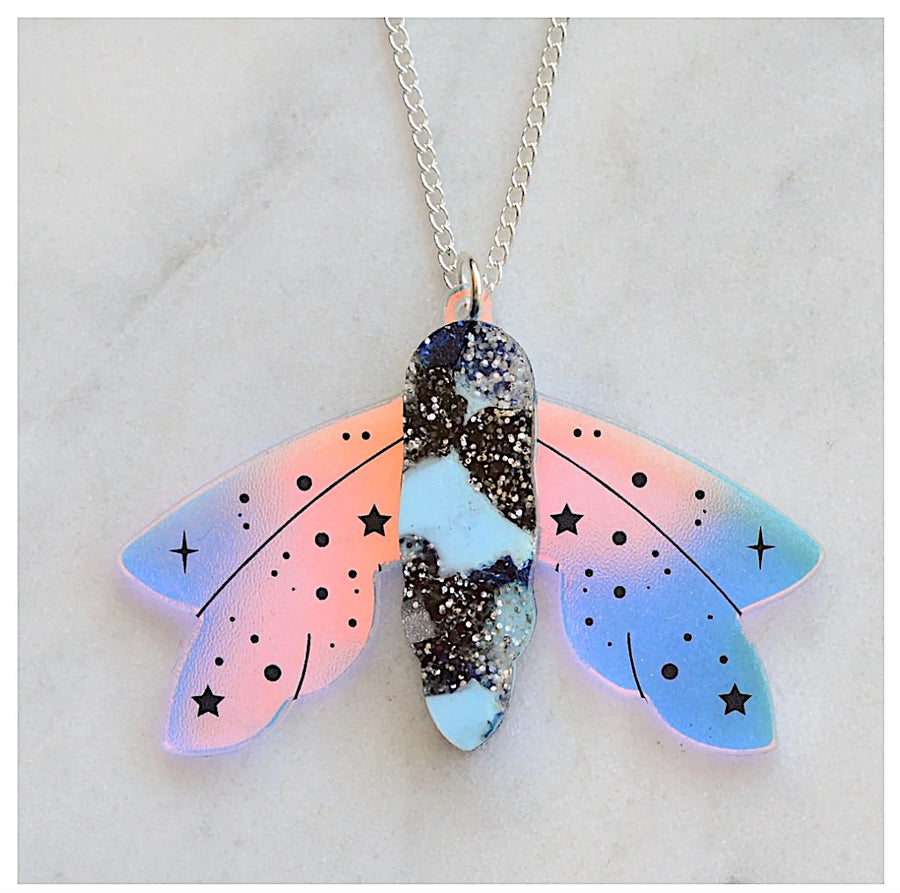 Recycled Acrylic Celestial Moth Necklace by Esoteric London (Blue/Black)