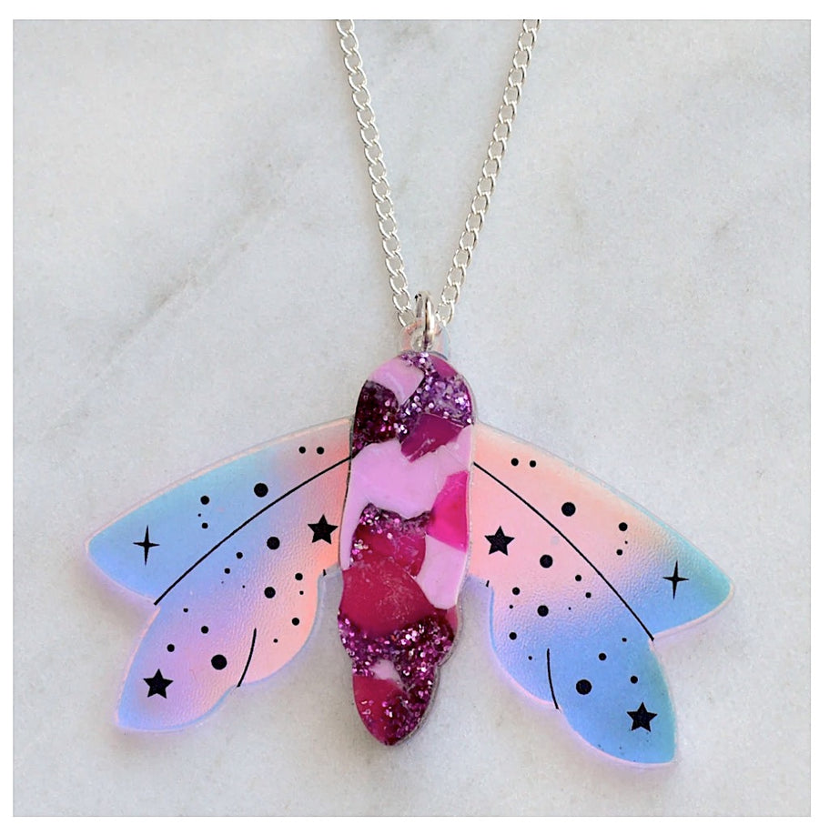 Recycled Acrylic Celestial Moth Necklace by Esoteric London ( Magenta)