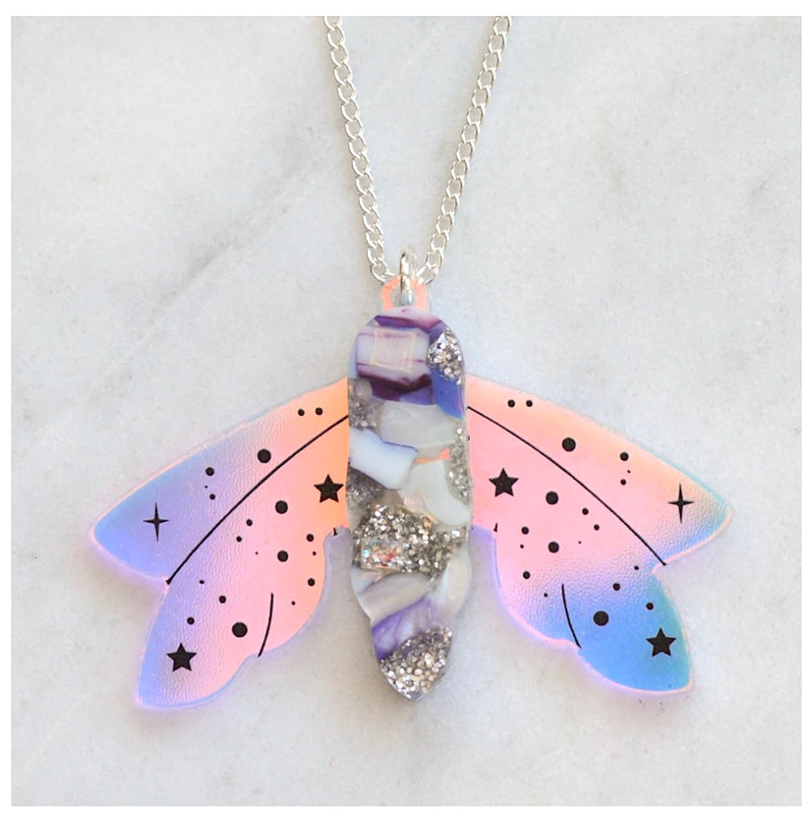 Recycled Acrylic Celestial Moth Necklace by Esoteric London ( Purple/Silver)