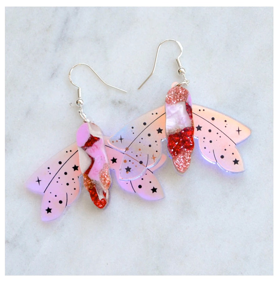 Recycled Acrylic Celestial Moth Earrings by Esoteric London (Pink/Red)