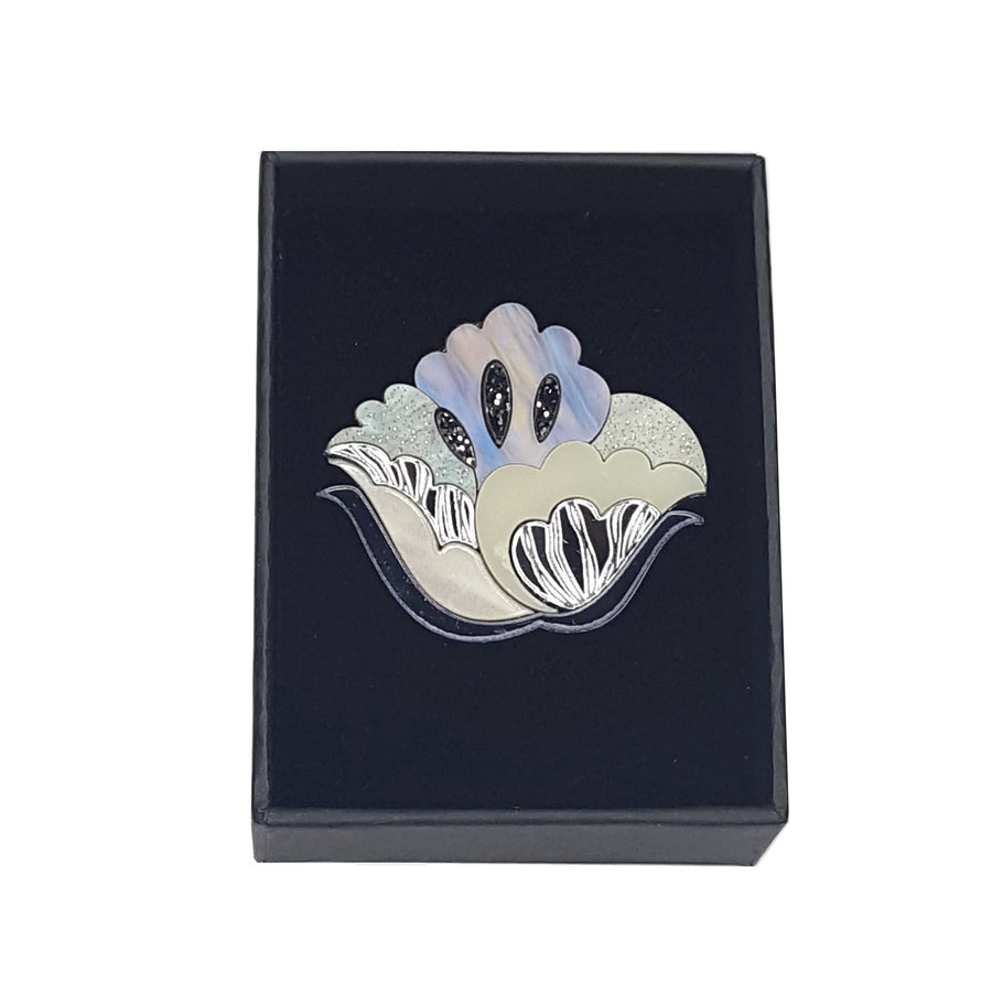 Nouveau Flower Brooch (Frost) by Rosa Pietsch