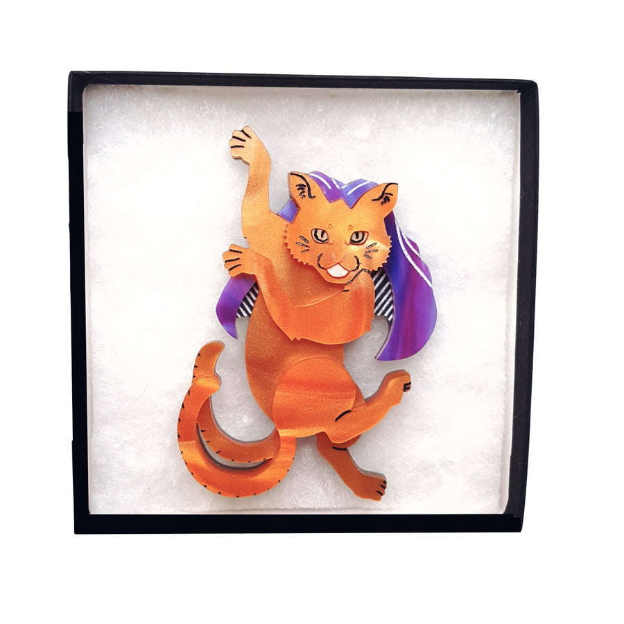 Nekomata Brooch (Orange) by Gory Dorky
