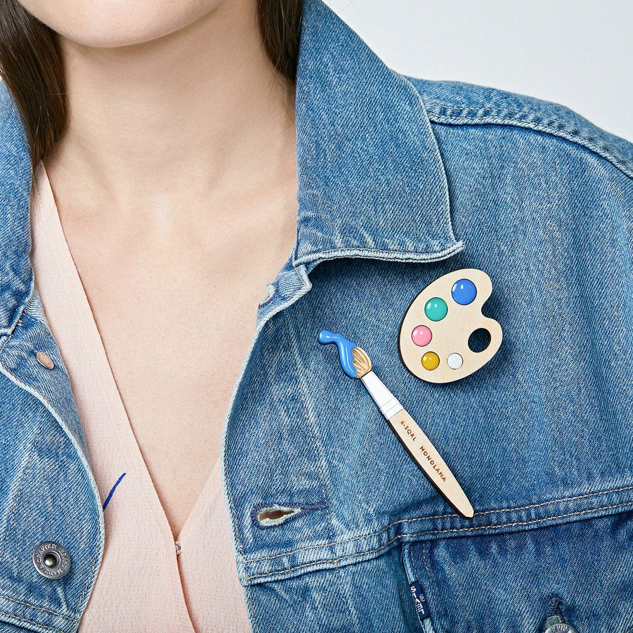 Paint Brush Brooch (Blue) by Monolama