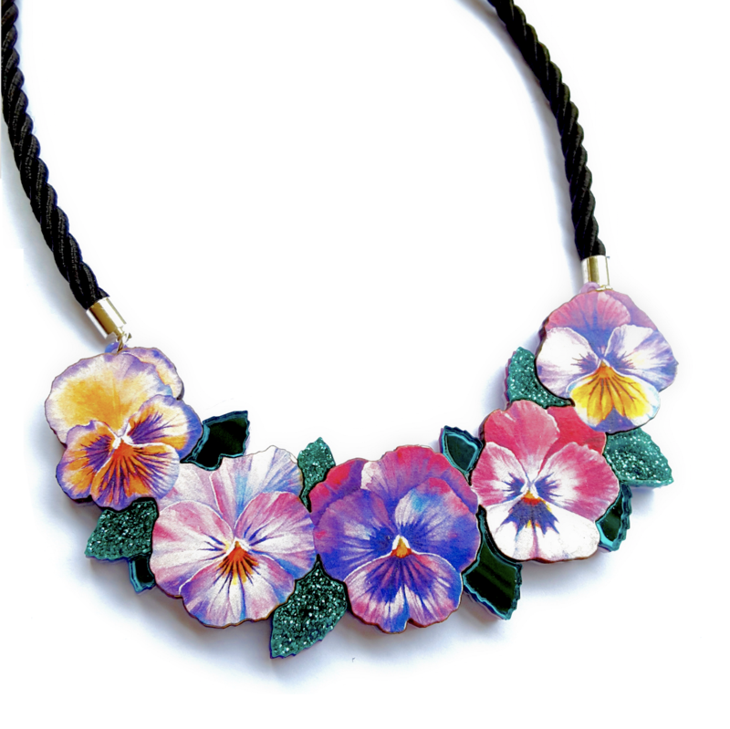 Large Watercolour Pansy Bib Necklace by Esoteric London