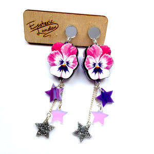 Watercolour Pansy Shooting Star Earrings (Iridescent & Marbled Stars) by Esoteric London
